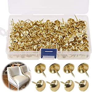 "Keadic 300Pcs 7/16"" (11mm) Antique Upholstery Tacks Furniture Nails Pins Kit for Upholstered Furniture Cork Board or DIY Projects - Gold"