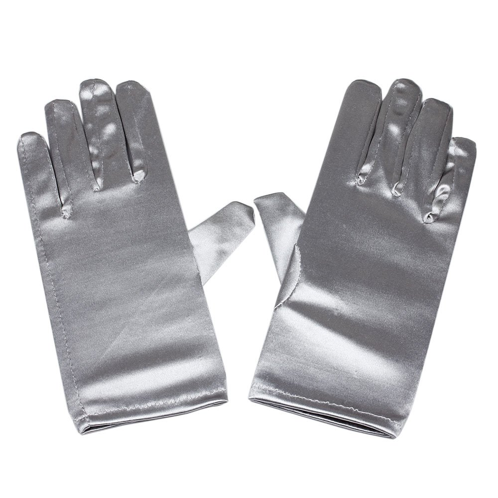 Women's Wrist Length Adult Size Satin Gloves, (Silver)