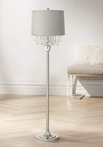 Modern Floor Lamp Satin Steel Chrome Crystal Chandelier Platinum Gray Silk Drum Shade
