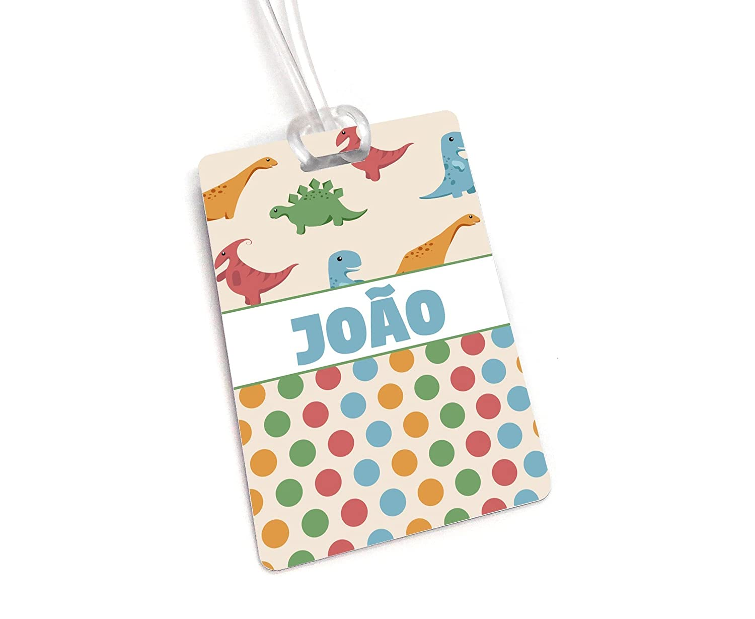 Beige Dinossaur Theme Personalized Backpack Tag, Boys School Name Tag