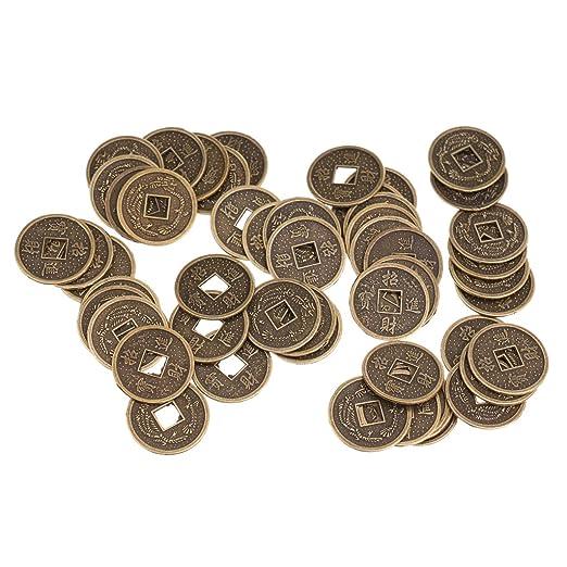Amazonde Homyl 50 X Chinesische Münzen Als Glücksbringer Feng Shui