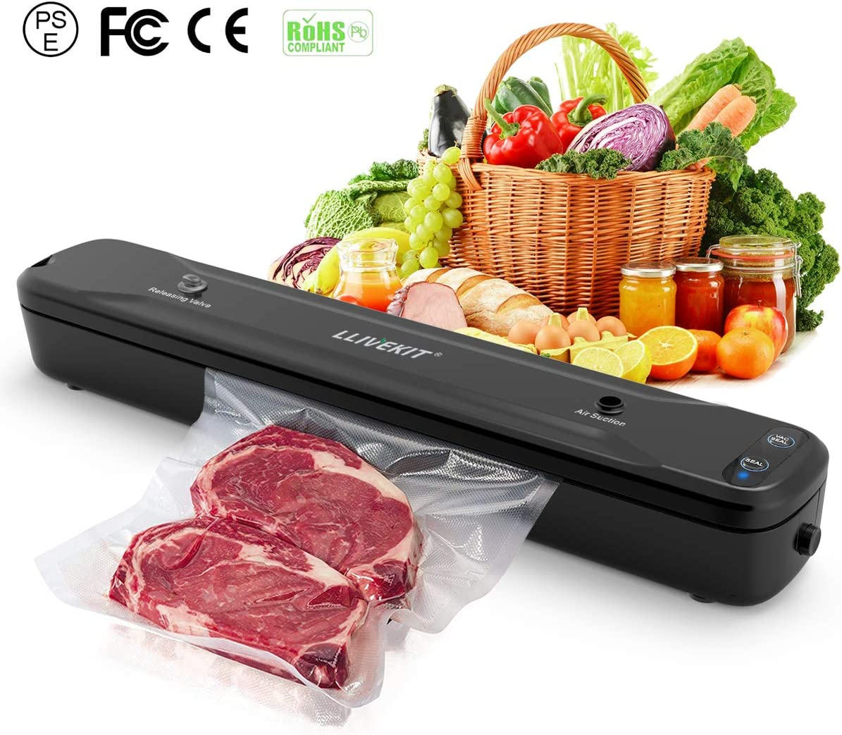Llivekit Vacuum Sealer, Automatic Vacuum Packing Machine for Dry Moist Food with Bags