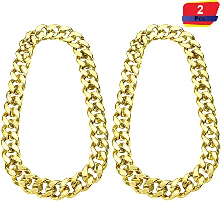 2 Piezas de Cadena de Hip Hop Dorado 32 Pulgadas de Cadena Chunky ...