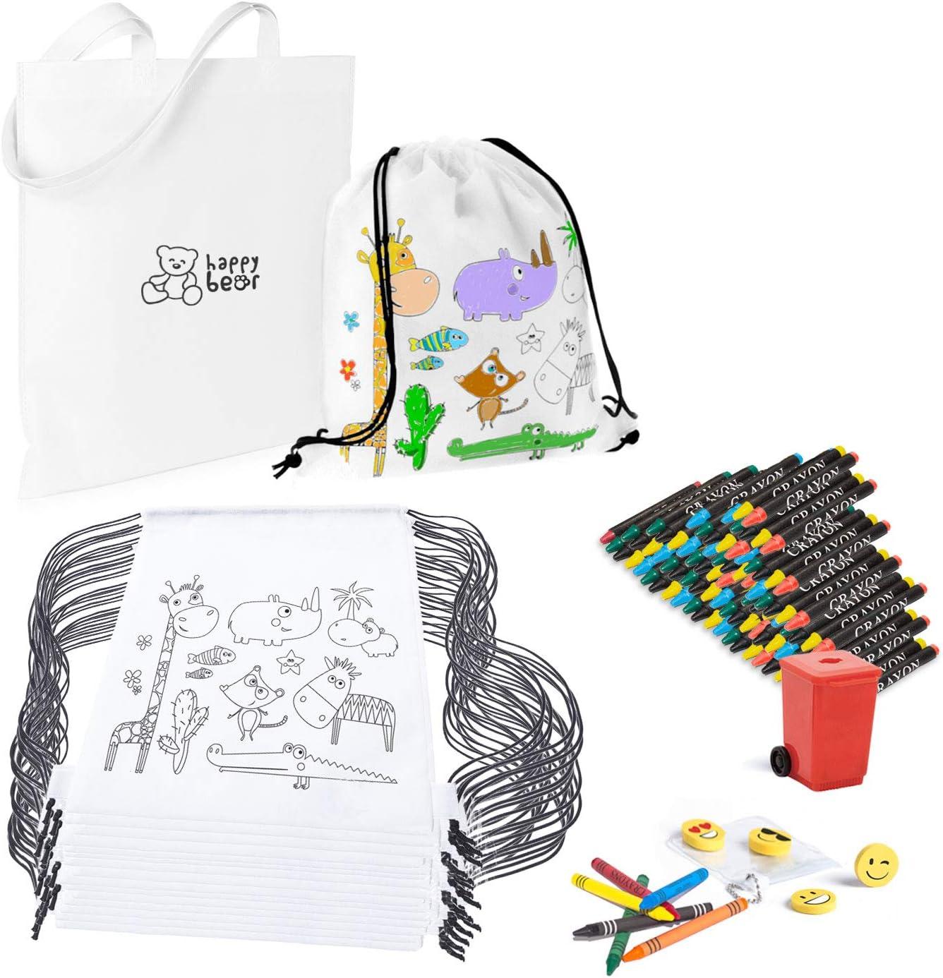 Mega Pack de 30 Mochilas para Pintar con Ceras - Diversión Asegurada - Original Regalo para Cumpleaños, Fiestas Infantiles en el Colegio y Comuniones - Incluye Regalos Extra para Divertido Concurso: Amazon.es: