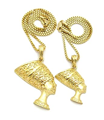 Design; 1 X Queen Nefertiti Egyptian Style Necklace Gold Or Silver Tone Egypt Novel In
