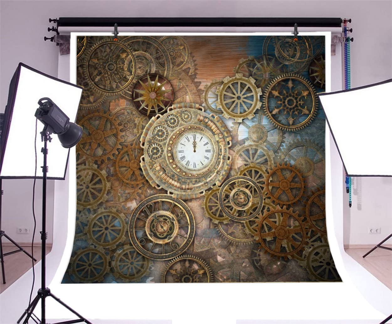 YEELE Rusty Steampunk Background 10x10ft Vintage Clock and Different Kinds of Gears Photography Backdrop Century Old Machinery Pictures Kids Adults Portrait Photoshoot Studio Props Digital Wallpaper