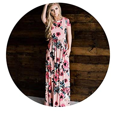 751ccf425f Image Unavailable. Image not available for. Color: 2018 Summer Long Dress  Floral Print Boho Beach Dress Tunic Maxi Dress Women Evening ...