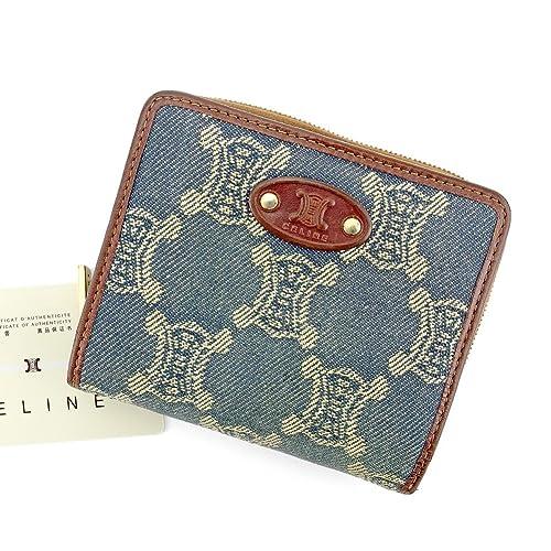 985e4dfba31a (セリーヌ) Celine 二つ折り 財布 ラウンドファスナー ネイビー ブラウン ゴールド マカダム デニム レディース メンズ