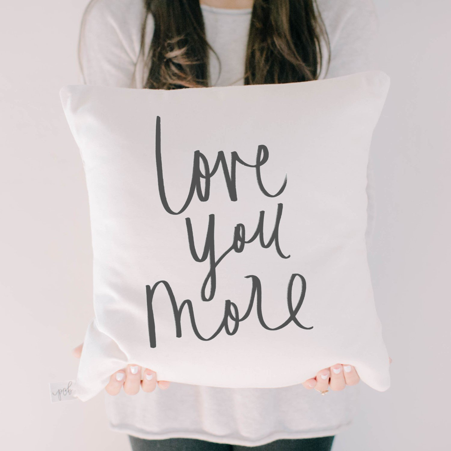 Throw Pillow - Love You More, Handmade in the USA, calligraphy, home decor, wedding gift, engagement present, housewarming gift, cushion cover, throw pillow