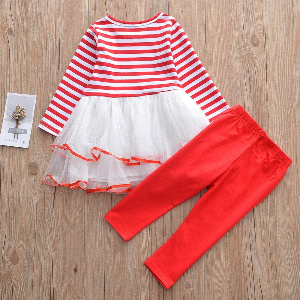 BSGSH Baby Girls Christmas Striped Letter Tutu Skirt Dress and Legging Set Clothing Outfits 2PCS