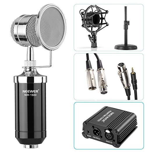 "Neewer® NW-1500 Microphone Kit: (1)Microphone with Iron Desk Stand, Shock Mount and Pop Filter+(1)48V Phantom Power Supply with Adapter+(1)Audio Input Cable+(1)Mic Cable 1/4"" Male to XLR Fema at amazon"