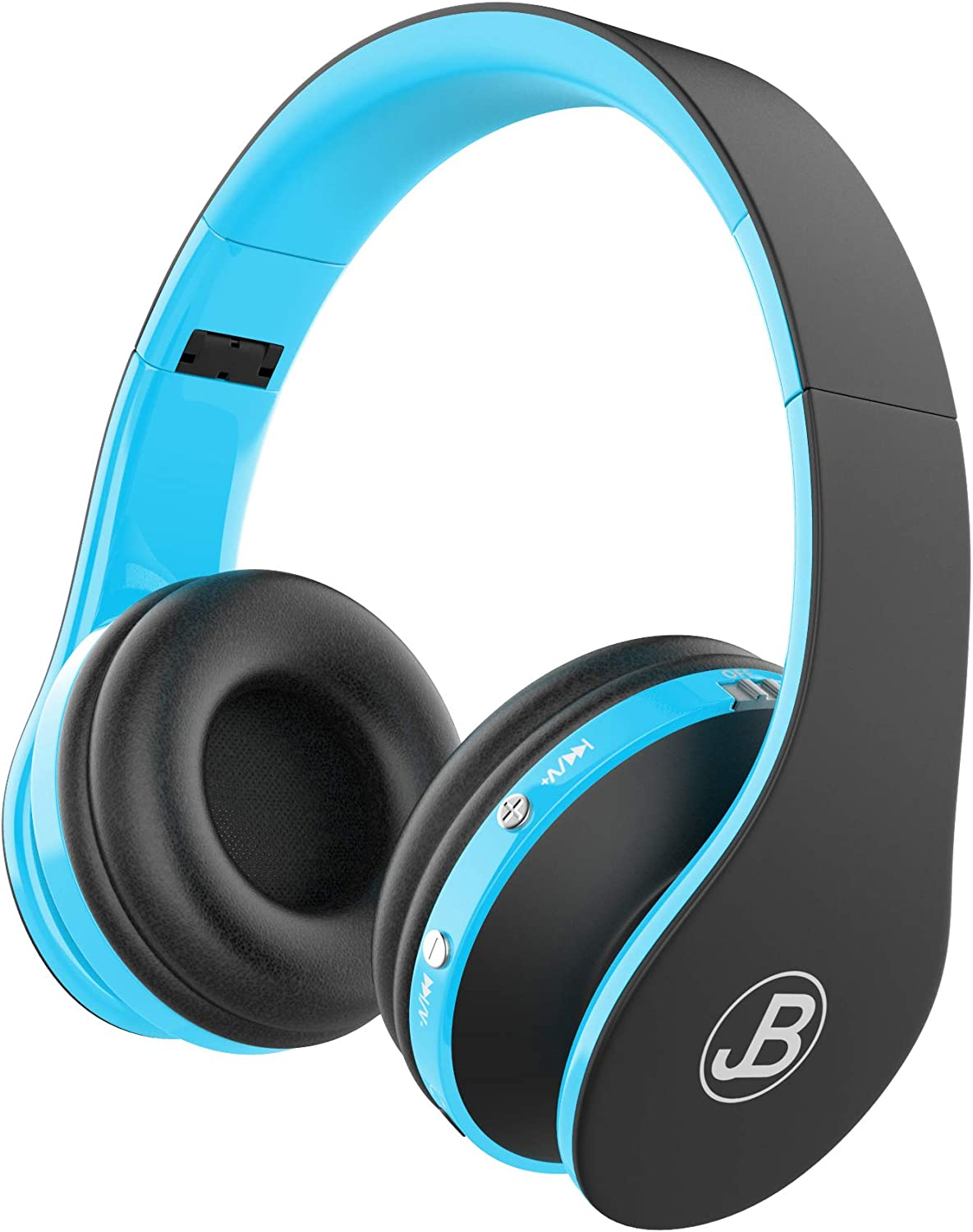 JB Wireless Over Ear Headphones, Wireless Technology, Foldable Soft Memory Earmuffs With Built in Mic, Automatic Connection To Cell Phone, TV PC, Blue