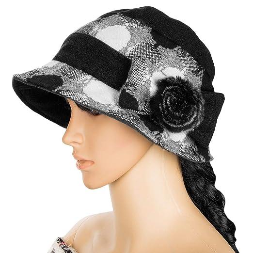 6c60e483f55 Peppermint Store Cool Item Women Winter Wool Black Cloche Bucket Hat ...