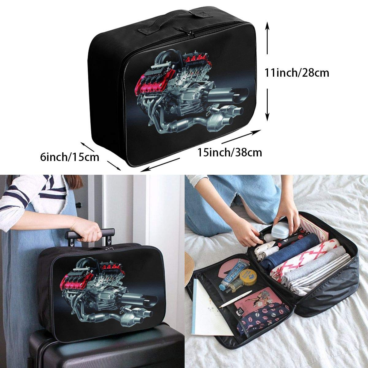 Travel Luggage Duffle Bag Lightweight Portable Handbag Cool Engine Pattern Large Capacity Waterproof Foldable Storage Tote