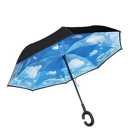 Paraguas Invertido Plegable a Prueba de Viento de la Capa Doble, Soporte del uno Mismo