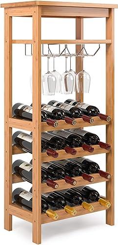 Homfa Bamboo Wine Rack Free Standing Wine Holder Display Shelve