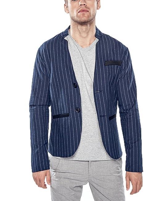Anyu Giacca Blazer a Righe Uomo Casual Due Bottoni Corto Cappotto Jacket   Amazon.it  Abbigliamento de12e8ff2fc
