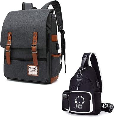 Small Sling Bag for Women Men Girls Boys Travel School Vintage Laptop Backpack Bookbags