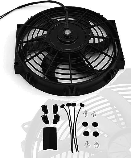 "10/"" inch Universal Slim Push Pull Electric Radiator Cooling 12V 80W Mount Fan"