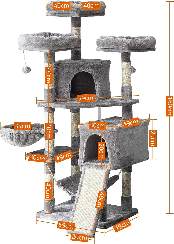 Poste de Rascar de Sisal Natural 2 Caseta para Gatos Hamaca IBUYKE 160cm /Árbol para Gato Torre de Escalada de Varios Niveles con 3 Plataformas Beige CT021M 1 Cesta Flotante Juguete