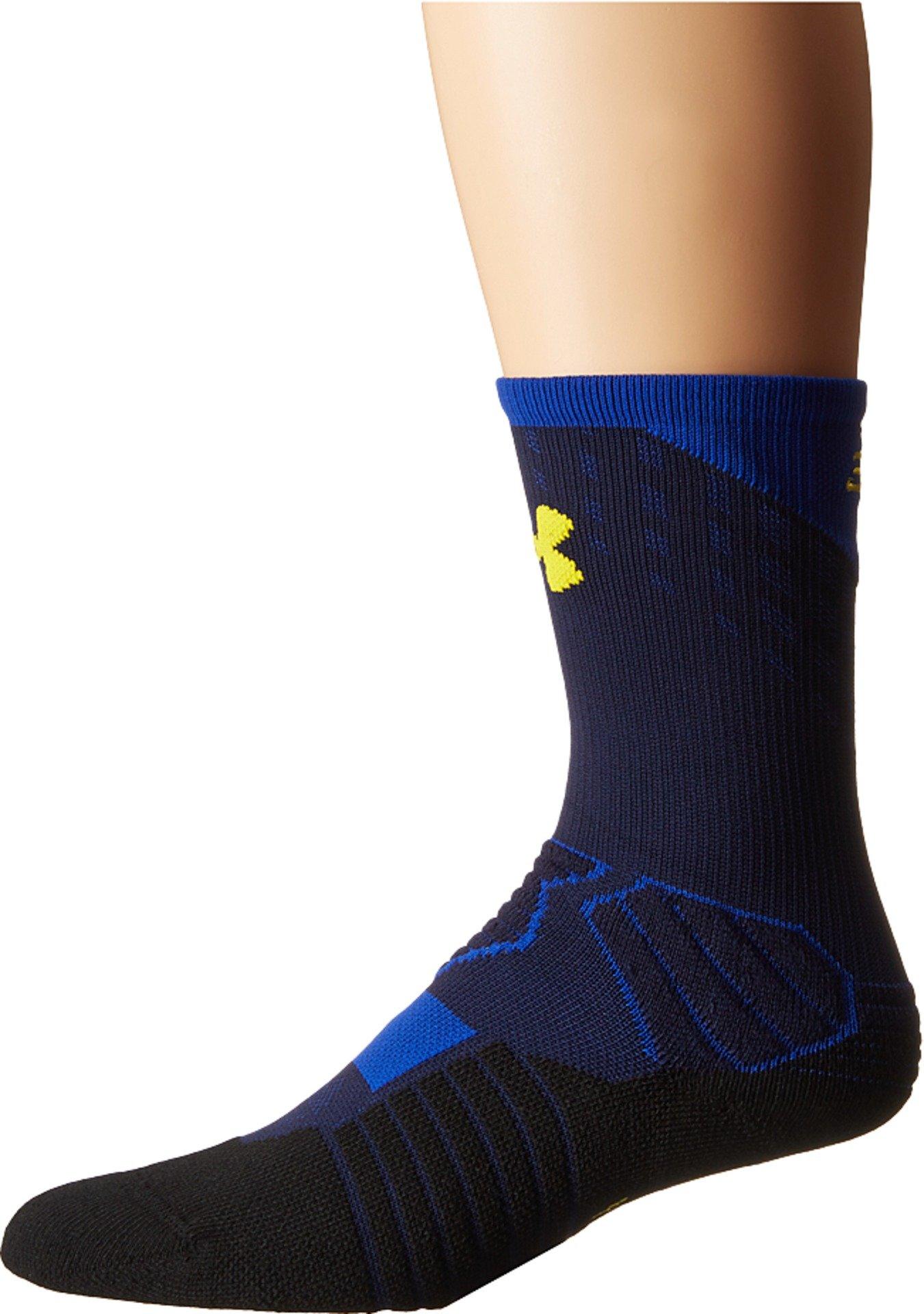 Under Armour Boy's UA Basketball Curry Crew (Big Kid) Midnight Navy/Royal/Taxi Yellow Socks Youth LG (7-9 Big Kid Shoe)