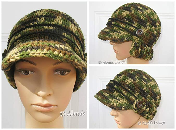 Amazon.com  Crochet Brimmed Visor Hat Camouflage Handmade Hat Newsboy Cap  Buttoned Hat Made in USA Free Shipping  Handmade 86fcd9228157