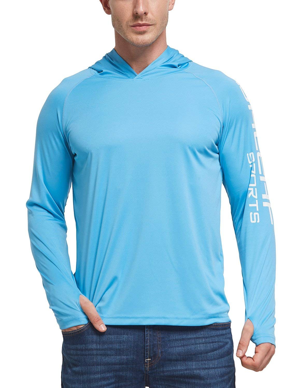 BALEAF Men's Hoodie UPF 50+ Sun Protection Long Sleeve Logo T-Shirt Blue L by BALEAF