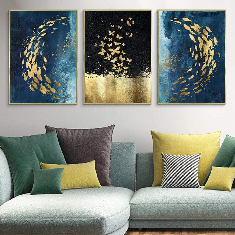YDGG Arte de la Pared Imágenes de Animales Abstractos Mariposas Peces Pinturas sobre Lienzo Modernos y lujosos Carteles e Impresiones de Oro Azul Decoración de Arte pop-40x60cmx3 Piezas sin Marco