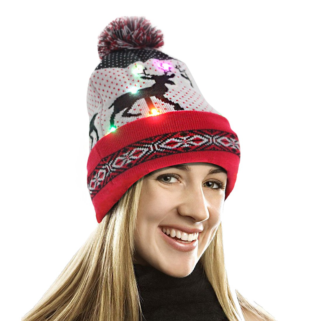 EZGO Light Up Hat With 10 colorful Lights  Unisex Knitted Light Hat With Sika Deer Printing For Party Christmas Gifts Sports Walking Jogging Bicycling