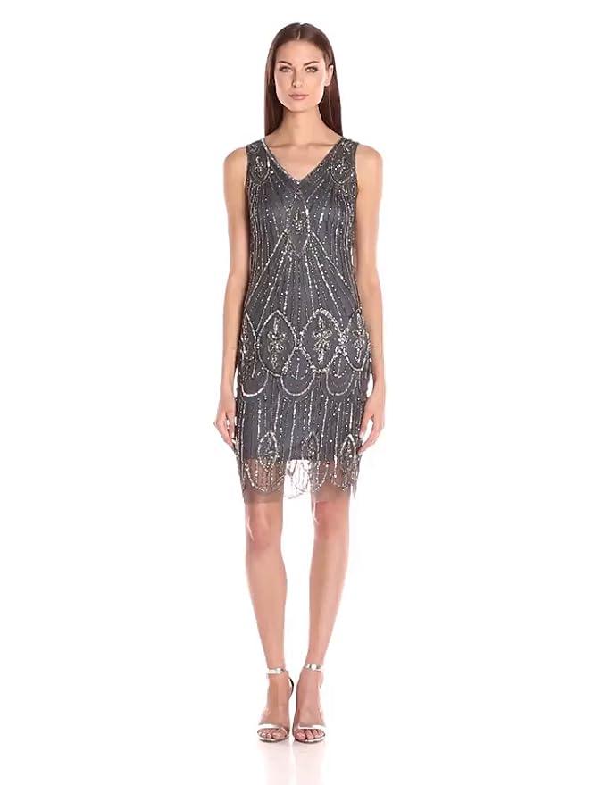 Where to Buy 1920s Dresses Pisarro Nights Womens Short Sleeveless Beaded Dress with Scallop Hem $188.00 AT vintagedancer.com