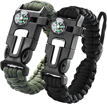 2016 Paracord Survival Bracelet Compass Whistle Camping 、Nice