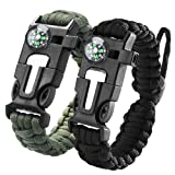 Paracord Survival Bracelet, iRainy 5 in 1 Adjustable Survival Bracelet W Flint Fire Starter Compass Whistle Parachute Cord Buckle Fits Men Women Kids for Hiking Camping,Boating and Other Outdoors