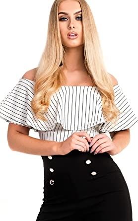 0c8131efd6 Ikrush Womens Ellah Striped Off Shoulder Bodysuit White UK 10 ...