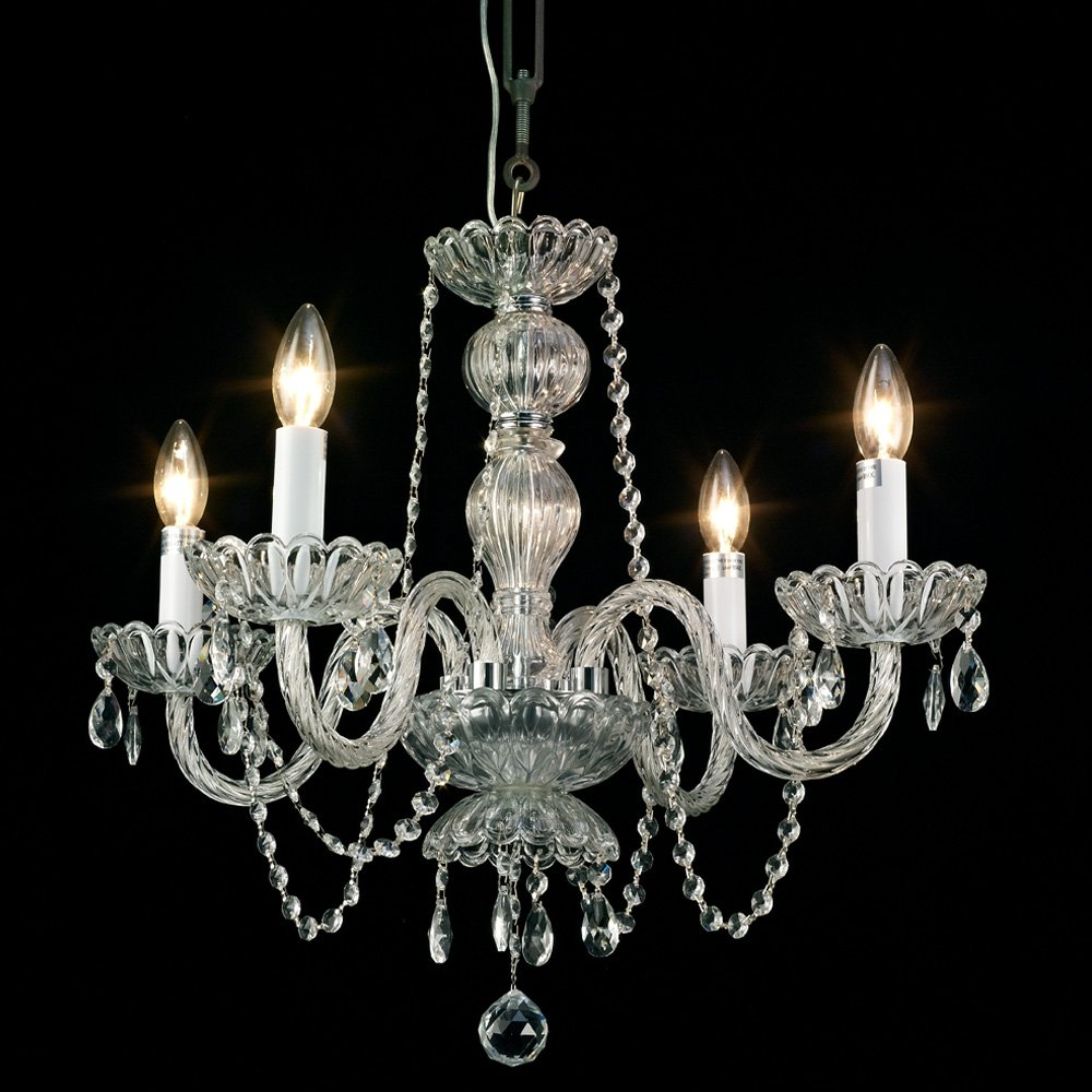 Starthi Mini Crystal Chandelier 4-Light Antique Small Pendant Chandelier Ceiling Light