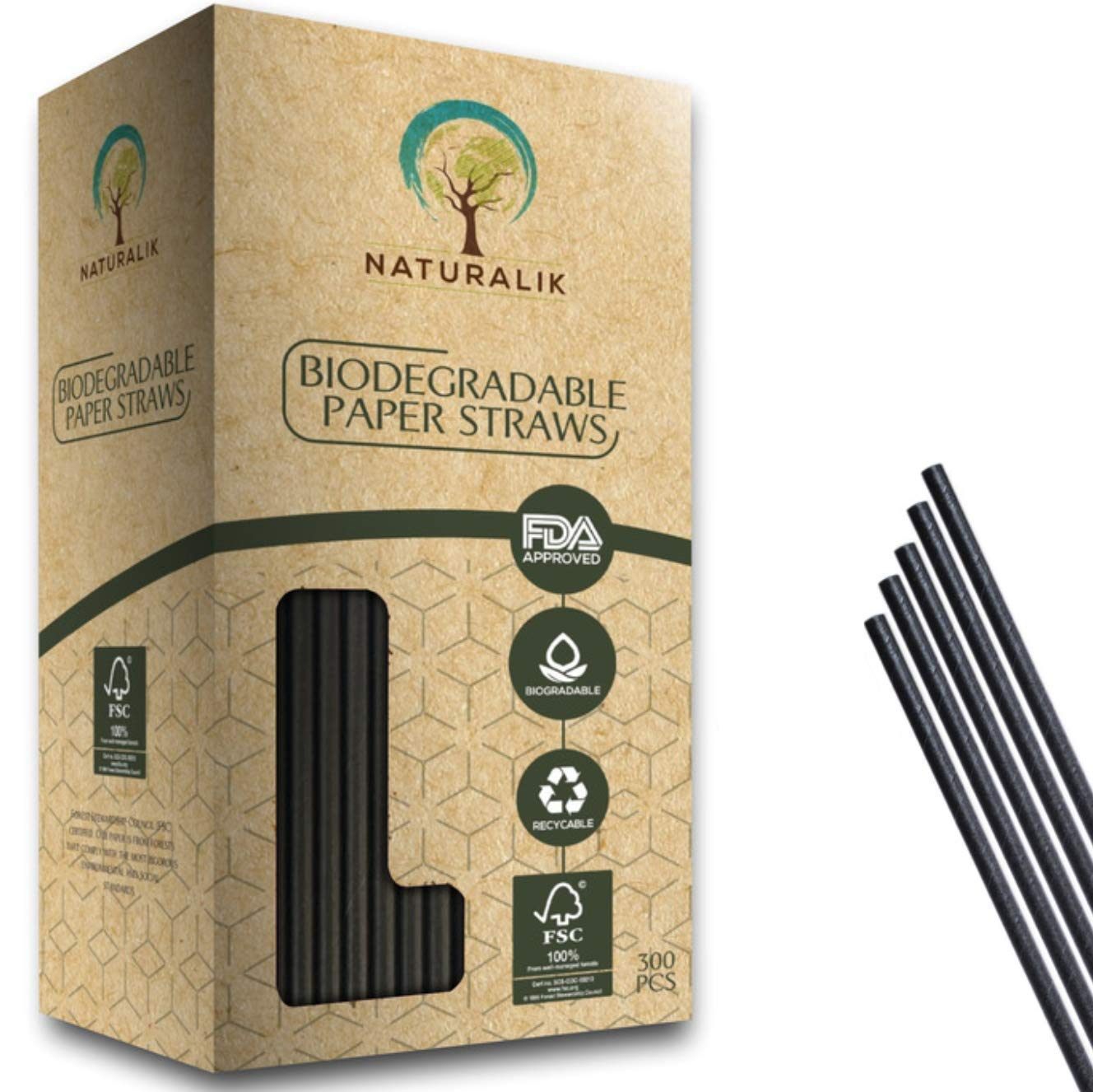Naturalik 500 Paper Straw Cocktail 5.75'' Black by Naturalik