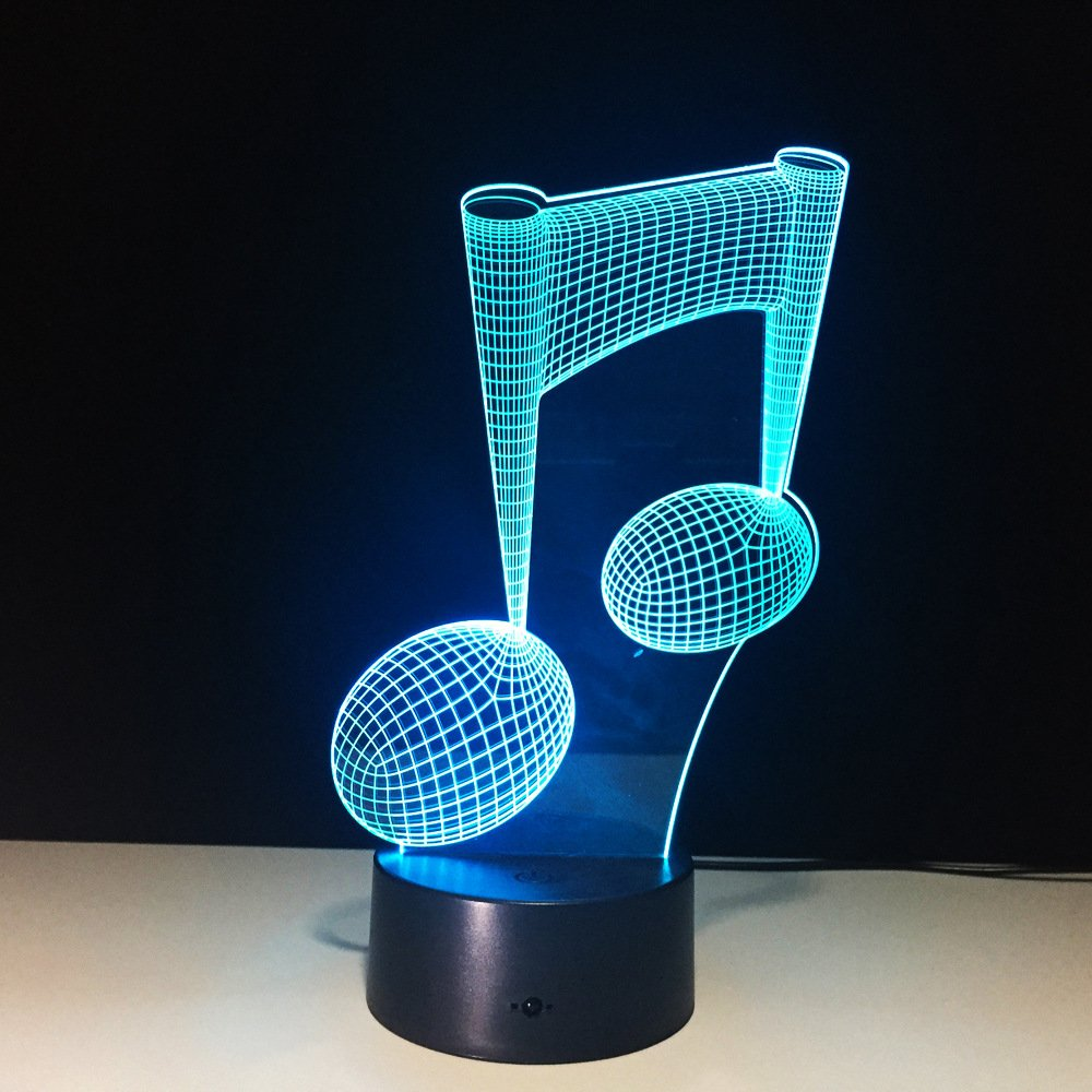 Music Note 3D Optical Illusion Night Light LED Table Desk Lamp 7 Color Changeable LED Night Light Home Party Decoration for Birthday Gift Christmas Xmas Festival Gift for Music Lovers Fans …