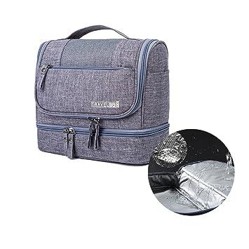 1a1527dc45 Amazon.com   Homyall Premium Travel Toiletry Bag Thicken Positive-ion  Oxford Waterproof Cosmetic Bag Portable Unisex Wash Bag Large Hanging Makeup  Bag(Grey) ...