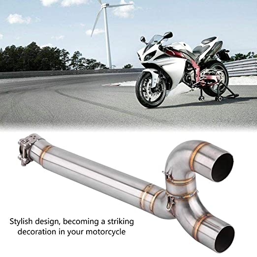 Fydun Motorcycle Full Exhaust System Middle Pipe Link Connect Silver for Yamaha FZ6 FZ6-N 2004-2009 Approx 49.5cm//19.5in