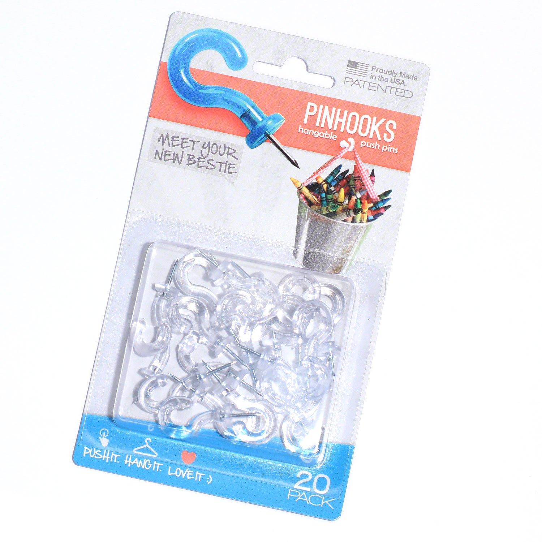 Pinhooks 20-Pack Klear Kindness Push Pin Wall Hooks, Transparent