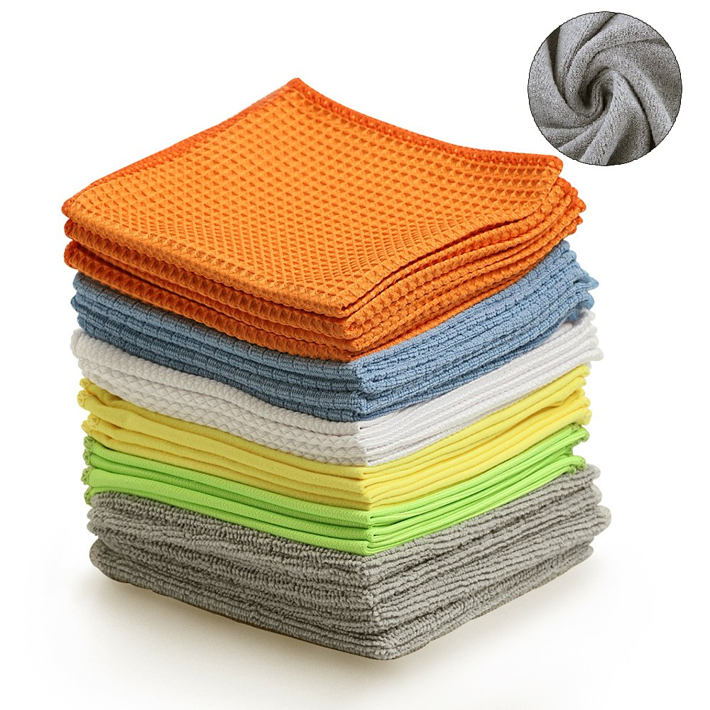 Multi-Function Microfiber Cleaning Cloths - 12Pack | Absorbent for Home/Kitchen/Car Glass/Disk Screen/Tablets |, 12x12 Inch. BONDRE