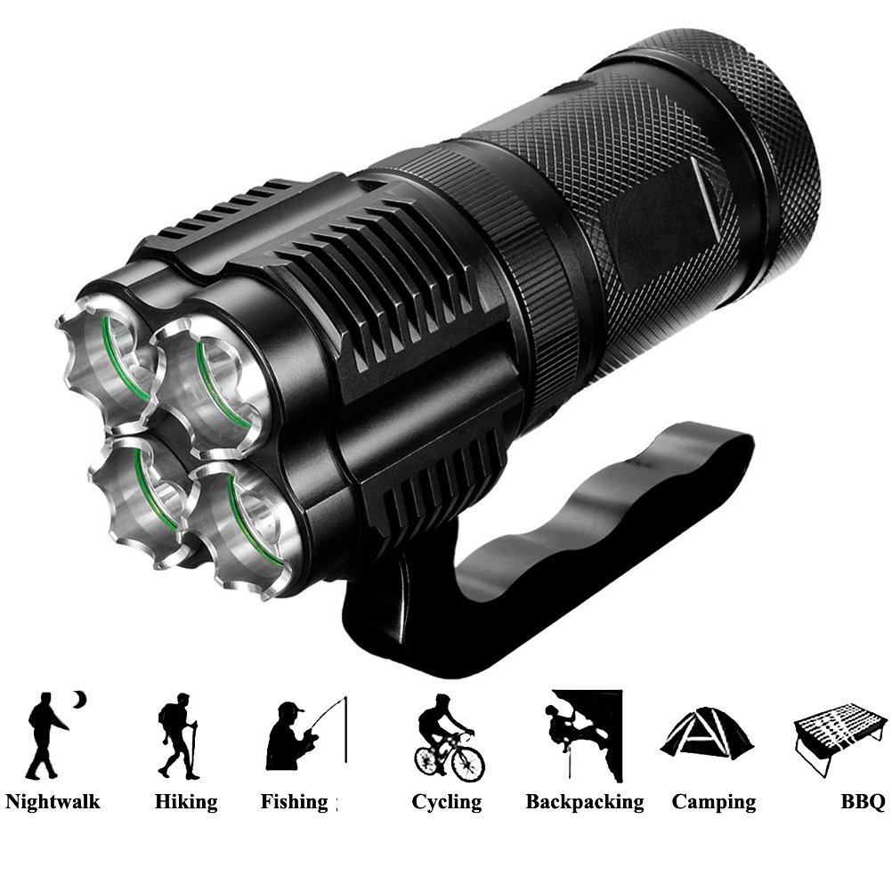 Werleo 3000 Lumens High Power Tactical Handheld Flashlight Torch Rechargeable Waterproof CREE XML-T2 Bright LED Spotlight Searchlight Floodlight Light For Outdoor Camping Lantern Hiking Hunting Black