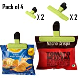 HOKIPO Bag Clips Of 2 Sizes For Quick and Easy Re-Sealing Of Opened Food Bags (Random Colors)-Pack of 4