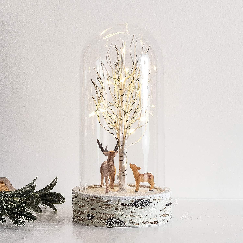 Lights4fun 12er LED Glaskugel warmwei/ß Hirsch mit Rehkitz Timer