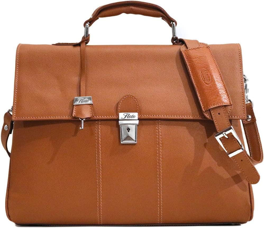 Venezia Laptop Briefcase Messenger Bag in Saffiano Leather