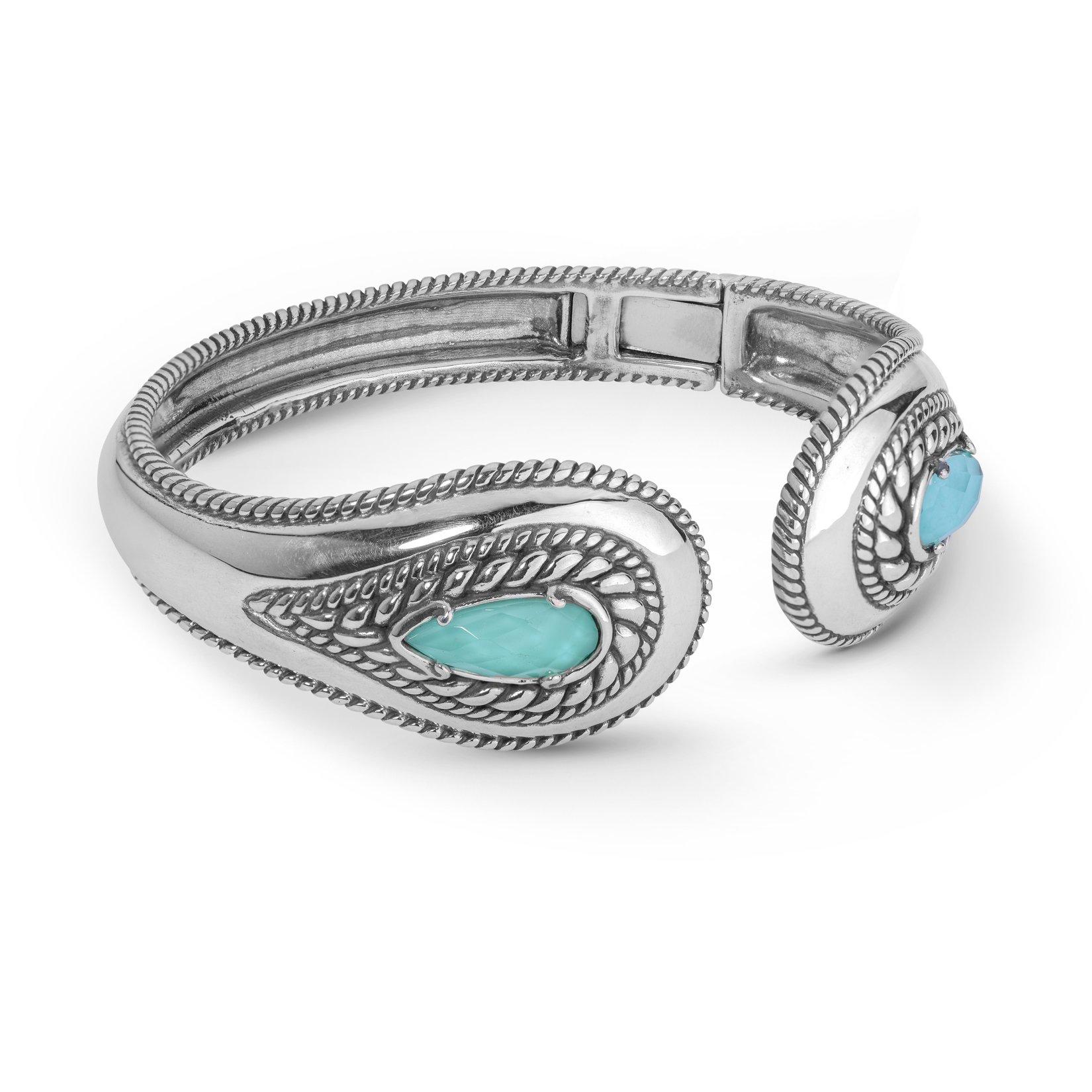 Carolyn Pollack Sterling Silver & Turquoise Crystal Quartz Doublet Hinged Bracelet