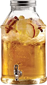 Style Setter 210452-GB Beverage Cold Drink Dispenser w 1.7-Gallon Capacity Glass Jug, Leak-Proof Acrylic Spigot in Gorgeous Gift Box for Parties, 1.7 Gallon, La Maison