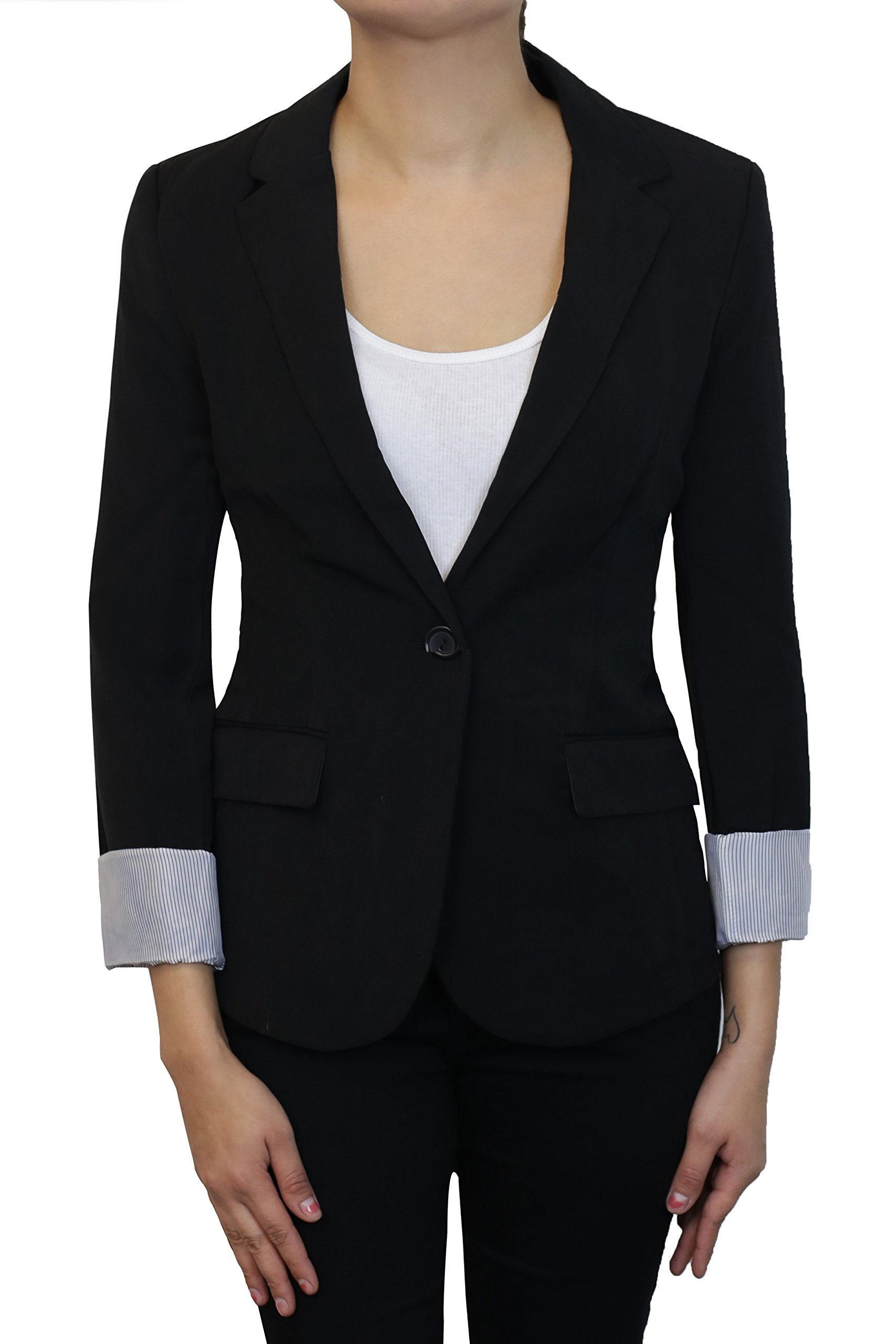 Instar Mode Women's Versatile Business Attire Blazers in Varies Styles (B22117 Black, Small)