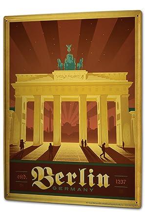 Blechschild Xxl Reisen Kuche Berlin Brandenburger Tor Amazon De