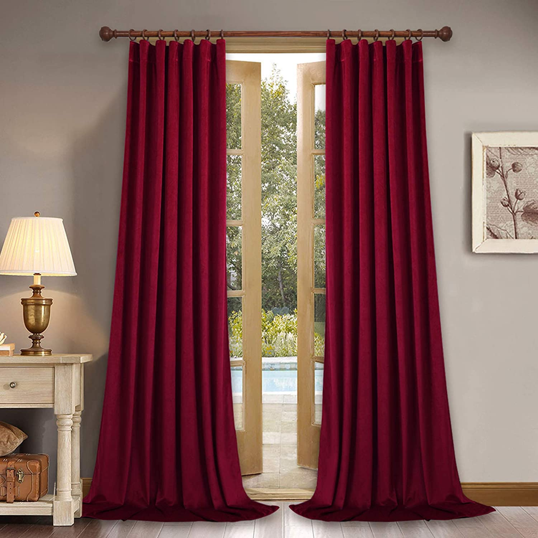 StangH Decor Red Velvet Curtains 108 inches - Super Soft Velvet Drapes Christmas Decor Light & Heat Blocking Sliding Glass Door Curtain Panels for Display Window / Dance Room, 52 x 108-Inch, 2 Panels