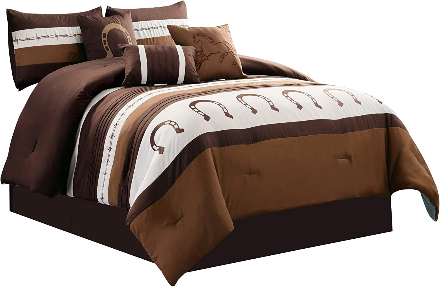WPM WORLD PRODUCTS MART 7 Piece Rustic Comforter Set. Brown/Beige/Teal Horseshoe, Horse, Barb Wired Embroidered Bed in a Bag Western Cowboy Bedding Set- JENA (Coffee, Queen)